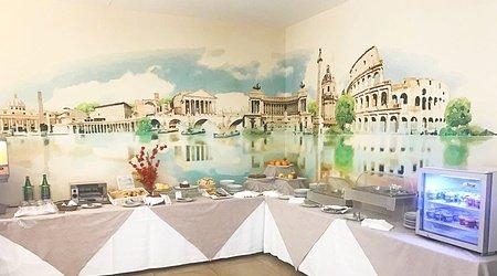 Restaurante oasis desayuno ele green park hotel pamphili roma, italia