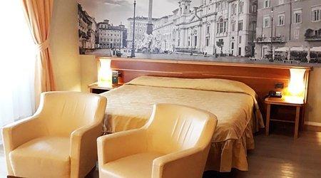 Habitación doble deluxe ele green park hotel pamphili roma, italia